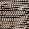 3mm flat STRIPED leather SILVER & BRONZE - per 5 meters