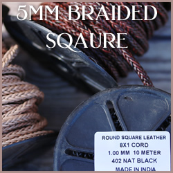 Braided Indian Square Leather 5mm