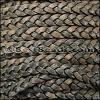 5mm Flat Indian Braided Leather NATURAL CHARCOAL - 10 Meter Spool