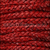 5mm Flat Indian Braided Leather NATURAL WINE RED - 10 Meter Spool