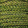 5mm Flat Indian Braided Leather NATURAL GREEN - 10 Meter Spool