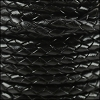 4mm Round Indian Braided Leather BLACK - 10m SPOOL