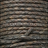 3mm Round Indian Braided Leather NATURAL CHARCOAL - 10 Meter Spool