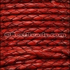 3mm Round Indian Braided Leather NATURAL WINE RED - 10 Meter Spool