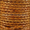 3mm Round Indian Braided Leather NATURAL TAN - 10 Meter Spool