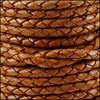 4mm Round Indian Braided Leather NAT ORANGE - 10m SPOOL