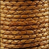 4mm Round Indian Braided Leather NAT MED BROWN - 10m SPOOL