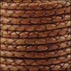 4mm Round Indian Braided Leather NAT LT BROWN - 10m SPOOL