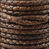 4mm Round Indian Braided Leather NAT DARK BROWN - 10m SPOOL