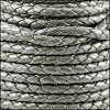 4mm Round Indian Braided Leather MET SILVER - 10m SPOOL