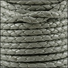 4mm Round Indian Braided Leather GREY - 10m SPOOL