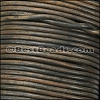 2mm round Indian leather - NATURAL CHARCOAL - 25m SPOOL