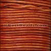 2mm round Indian leather - NATURAL DARK ORANGE - 25m SPOOL