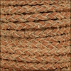 5mm Round Suede Braided Leather MEDIUM BROWN - 10m SPOOL