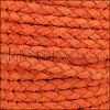 5mm Round Suede Braided Leather NATURAL ORANGE/RED - 10m SPOOL