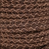 5mm Round Suede Braided Leather BROWN - 10m SPOOL