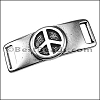 10mm flat PEACE SIGN bracelet bar ANT SILVER - per 10 pieces