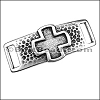 10mm flat RELIEF CROSS bracelet bar ANT SILVER - per 10 pieces