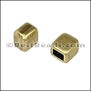 3mm flat SQUARE end cap ANT BRASS - per 10 pieces