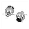 6mm round SPHERICAL loop end ANT SILVER - 10 pcs