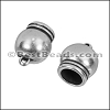 8mm round SPHERICAL loop end ANT SILVER - per 10 pieces