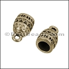 5mm round PATTERNED loop end ANT BRASS - per 10 pieces