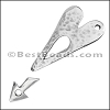 2mm HEART & ARROW Toggle Clasp ANTIQUE SILVER - per 10 clasps