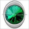 multi round EMERALD SW CRYSTAL BUTTON end ANT SILVER - per 5 pieces