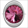 multi round ROSE SW CRYSTAL BUTTON end ANT SILVER - per 5 pieces