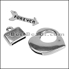 10mm flat HEART TOGGLE clasp ANT SILVER - per 10 pieces