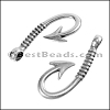 Multi Round FISH HOOK connector clasp ANT SILVER - per 10 pieces