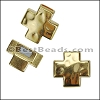 5mm flat CROSS magnetic clasp SHINY GOLD - per 10 clasps