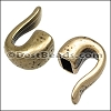4mm round HAMMERED HOOK end ANT BRASS - per 10 pieces