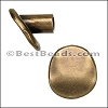 multi round BUTTON end ANT BRASS - per 10 pieces