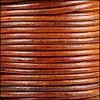 3mm round Indian leather - natural medium brown - 25m SPOOL
