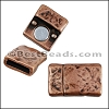 10mm flat TEXTURED magnetic clasp ANT COPPER - per 10 pieces
