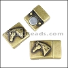 10mm flat HORSE HEAD magnetic clasp ANTIQUE BRASS - 10 clasps