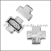 5mm flat CROSS magnetic clasp ANTIQUE SILVER - per 10 clasps