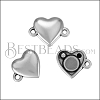 HEART magnetic clasp ANT SILVER- per 10 clasps