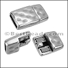 10mm flat HAMMERED magnetic clasp ANT SILVER - per 10 clasps