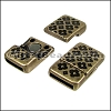 10mm flat TILED FLORAL magnetic clasp ANT BRASS - 10 clasps