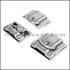 20 + 10mm flat BUCKLE magnetic clasp ANT SILVER - per 10 clasps