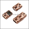5mm flat HAMMERED magnetic clasp ANT COPPER - per 10 clasps