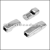 3mm flat ROUNDED magnetic clasp ANT SILVER - per 10 clasps