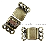 3 LOOPS magnetic clasp ANT BRASS - per 10 clasps