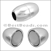 6mm round SMOOTH BARREL magnetic clasp ANT SILVER - per 10 clasps