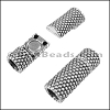 5mm round SMALL DOTS TUBE magnetic clasp ANT SILVER - per 10 clasps