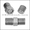 6mm round SCREW NUT magnetic clasp ANT. SILVER- per 10 clasps