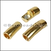 6mm round CURVED TUBE magnetic clasp GOLD - per 10 clasps