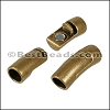 8mm round CURVED TUBE magnetic clasp ANT BRASS - per 10 clasps